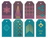Etiquettes cadeaux por noêl de style art déco - 181920815