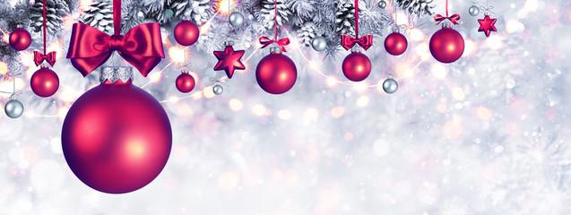 Christmas Balls Hanging Snowy Fir Branches