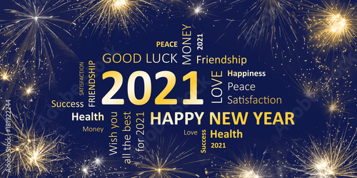 Poster Happy new year 2021 greeting card