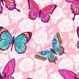 seamless roses and butterflies