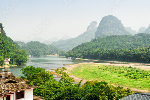 Poster Guilin The Li River among woods and scenic karst mountains, China