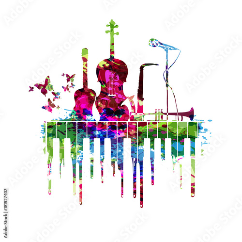 Plexiglas Muziek Music poster with music instruments vector illustration. Colorful music background with piano keyboard, guitar, violoncello, saxophone, trumpet and microphone. Music concert poster