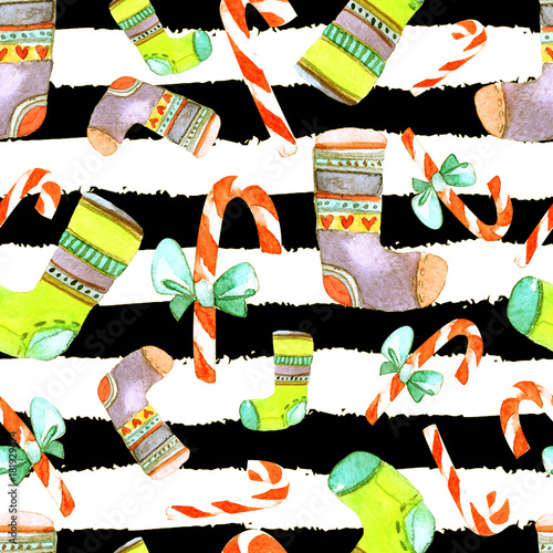 Materiał do szycia Beautiful Seamless Christmas Pattern. Hand Drawn Watercolor Illustration. Background for your design of Greeting Card, Invitations, Poster. Wonderful Print for Wrapping Paper, Fabric, Tiles, Wallpaper