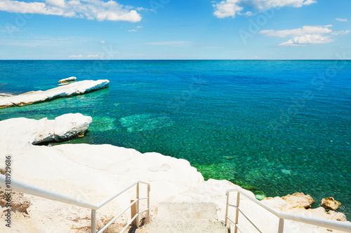 Poster Cyprus Governor beach with white cliff and blue sea in Cyprus