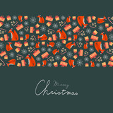 Christmas Greeting Card with Decorative Christmas Elements (Fox with Santa Hat, Gingerbreads and Presents) and Handwritten Text. - 181931279