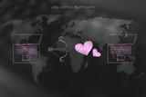 world map with laptops, cupids bow and lovehearts in between - 181937053