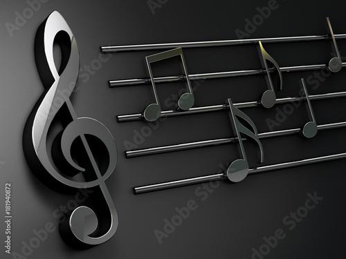 grafika-3d,-pieciolinia,-nuty,-klucz-wiolinowy