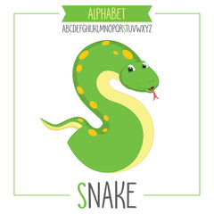 Illustrated Alphabet Letter S and Snake