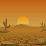 Landscape of dry desert. vector. design element - 181944448