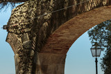 Close-up of Arch Structure and Old Light inside Castle of Sao Jorge in Lisbon, Portugal - 181945879
