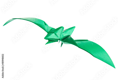 Plagát Green pterodactyl of origami, isolated on white background.