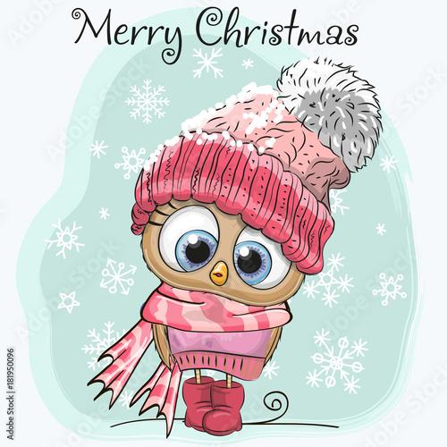 Plexiglas Uilen cartoon Cute Cartoon Owl in a hat