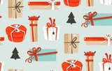 Hand drawn vector abstract fun Merry Christmas time cartoon illustrations seamless pattern with cute retro vintage Christmas gifts boxes isolated on blue background - 181951824