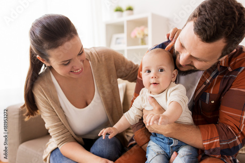 Papiers peints Kiev happy family with baby at home