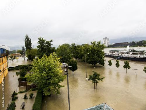 Foto op Canvas Rivier flood 2013, linz, austria