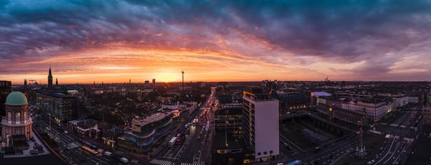 Panorama sunrise over Tivoli in Copenhagen
