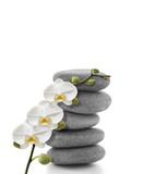 Orchidée blanche sur son galet - 181958044