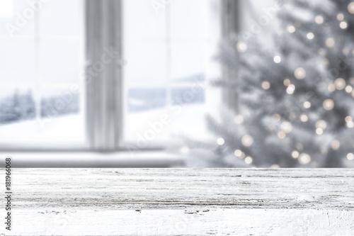 Fototapeta white wooden desk space