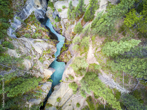 Amazing Mistaya Canyon with rich blue water, Banff National Park, Alberta, Canada