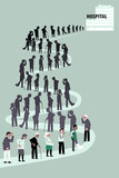 Long line of patients going to a hospital, EPS 8 vector illustration - 181966883