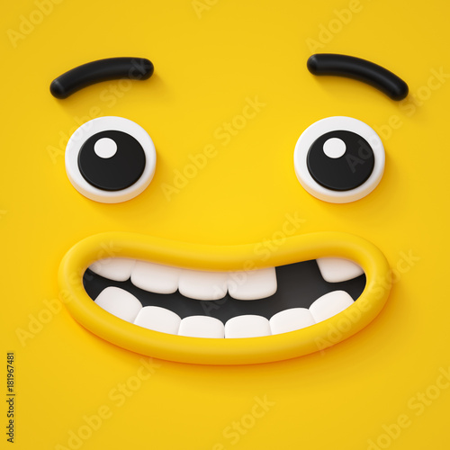 3d render, cute childish face, toothless smile, amazed emotion, emoji, emoticon, Poster