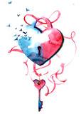 heart on lock - 181968051