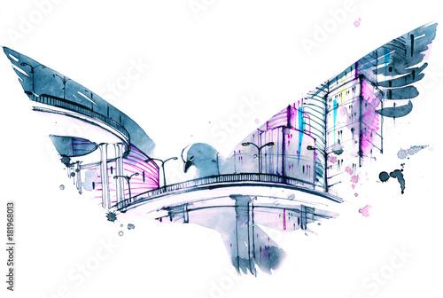 Staande foto Schilderingen modern city
