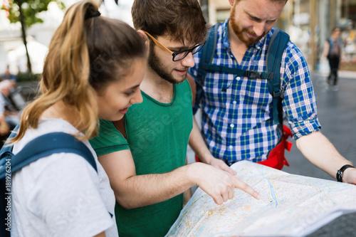 Plakát Happy group of students on adventure