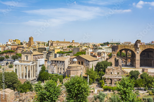 Fotobehang Vestingwerk Top view of Roman Forum, Rome Italy