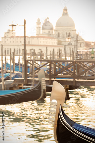 Foto op Canvas Venetie Gondola's prow in venetian lagoon.