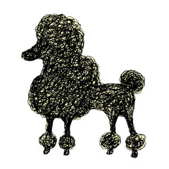 Silhouette of a dog poodle, doodle style, cartoon scribble puppy