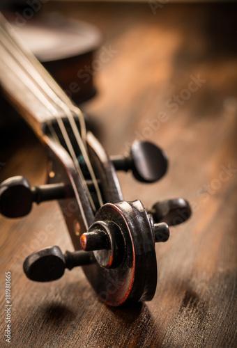 Fotobehang Muziek Violin in vintage style on wood background