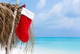 Christmas greeting card with Santa stocking - 181981462