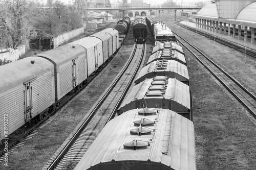 old train vagon in black and white Poster