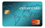 Credit card is seen isolated on a white background. Illustration. Faux, mock, generic credit card.