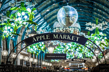 Apple market of Covent Garden in Christmas, London