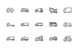 Truck Set of Transport Vector Line Icons. Contains such Icons as Truck, Transportation, Tow Truck, Cranes, Mixer, Garbage Truck, Manipulators, Delivery service and more. Editable Stroke. 32x32 Pixel - 181997846