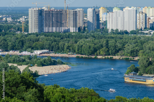 In de dag Kiev Dnipro banks, beaches and residential areas of Kyiv