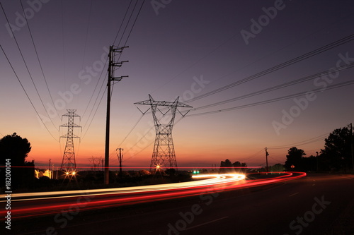 Plexiglas Brug Sunset Power Line