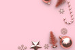 blank space with snow star christmas tree ball candy pink background christmas holiday concept 3d rendering