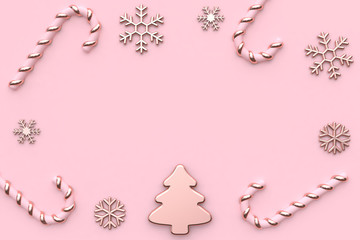 snow christmas candy pink christmas background 3d rendering with blank space