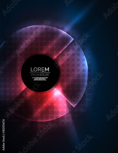 Staande foto Abstract wave Circular glowing neon shapes, techno background