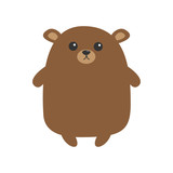Grizzly brown bear. Cute cartoon funny kawaii character. Forest baby animal collection. White background. Isolated. Flat design.