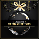 Merry christmas greeting card and party invitations on black background. Vector illustration element for happy new year design. - 182016827