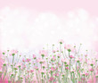 Vector pink flowers on  bokeh background. - 182024827