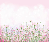 Vector pink flowers on  bokeh background.