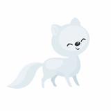 The image of a cute cartoon polar fox. Vector illustration.