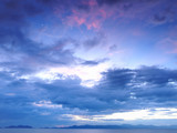 Soft blue clouds at sunset near Ko Chang, Thailand