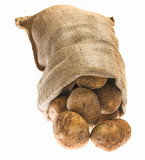 a fresh raw potatoes in a sack on a white background - 182026893