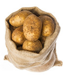 a fresh raw potatoes in a sack on a white background - 182027485